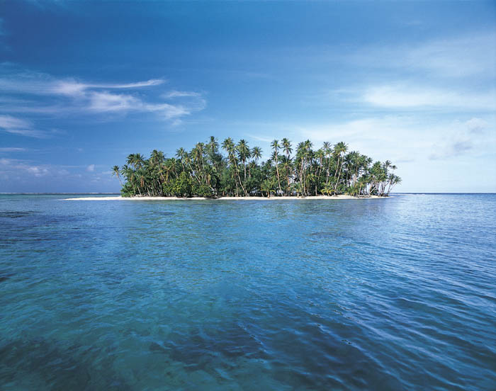 Beautiful island - my dream. Sunny beach, soft golden sand, palms ...